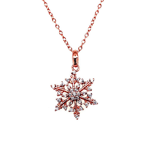 Rosegold Plated Sterling Silver Cubic Zirconia Snowflake Necklace 141738