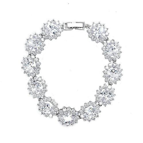 Bridal Cubic Zirconia Silver Oval Bracelet 126686