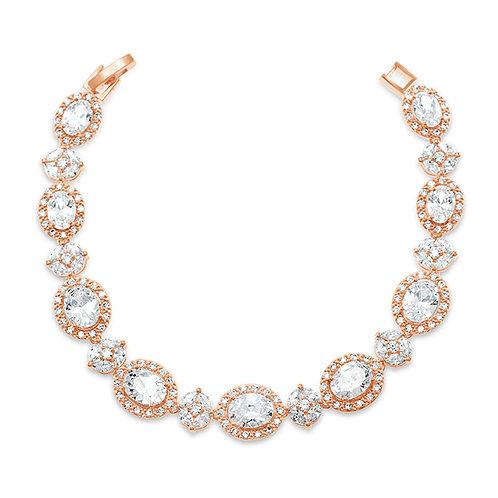 Bridal Rose Gold Cubic Zirconia Bracelet 131637-10124400