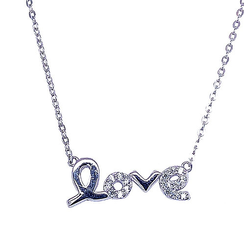 Sterling Silver Cubic Zirconia Love Necklace133260