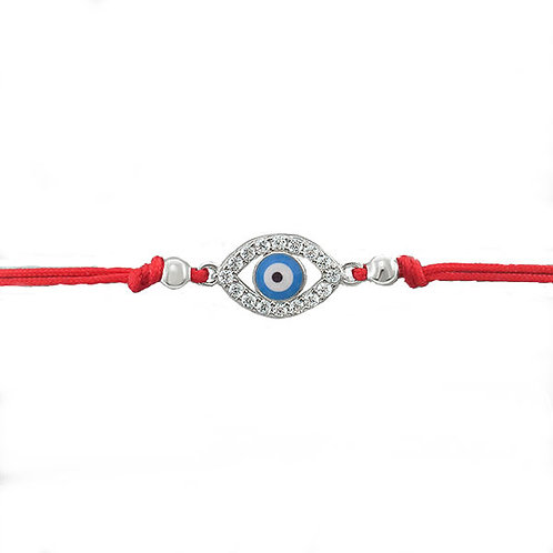 Sterling Silver Cubic Zirconia Evil Eye Rope Bracelet 143368