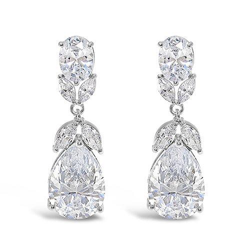 Bridal Silver Cubic Zirconia Tear Drop Earrings 131625