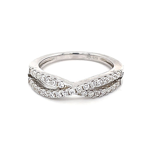 Sterling Silver Cubic Zirconia Pave Cross Ring 129816