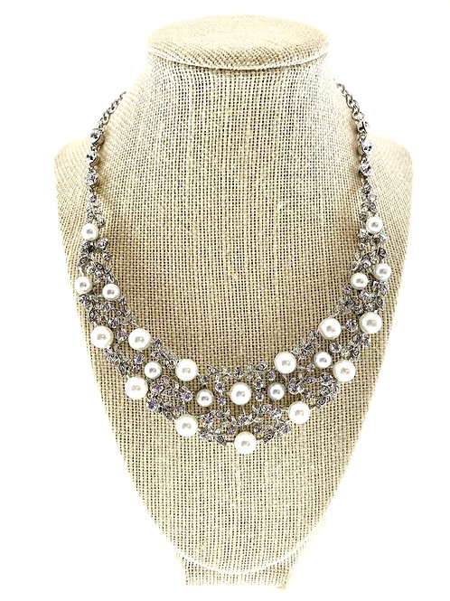 Fashion Crystal Pearl Necklace & Earrings Set 142026