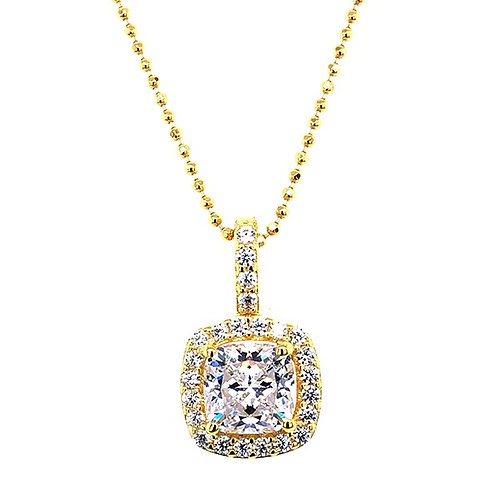 Gold Plated Sterling Silver Cubic Zirconia Square Necklace 143468