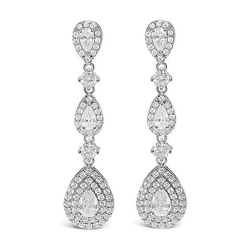 Bridal Silver Cubic Zirconia Tear Drop Earrings 131624