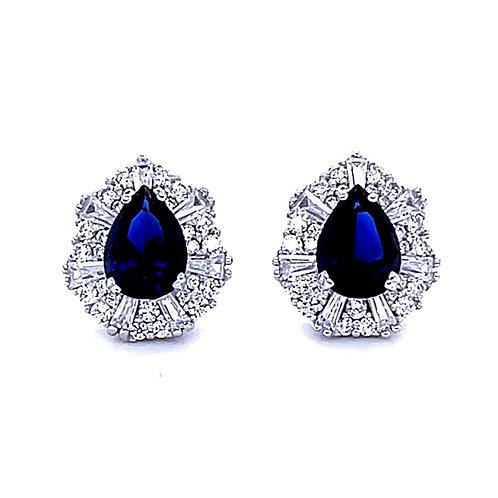 Sterling Silver Cubic Zirconia Tear Blue Stud Earrings 141431