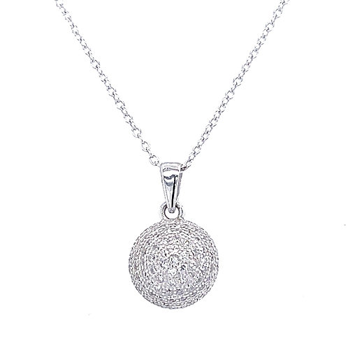Sterling Silver Micro Pave Cubic Zirconia Ball Necklace 123195