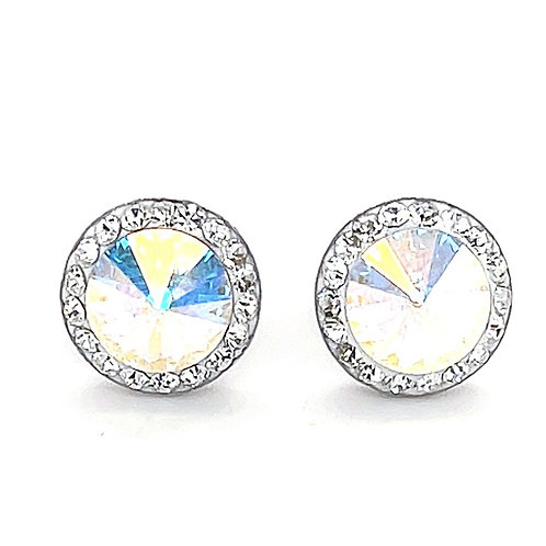 Sterling Silver Crystal Stud AB Colour Earrings 136752