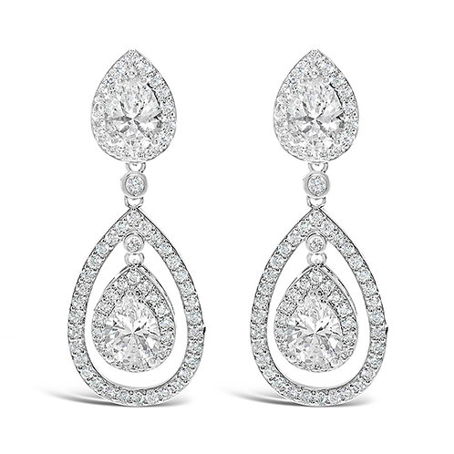 Silver Cubic Zirconia Tear Drop Halo Earrings 131642-10124413