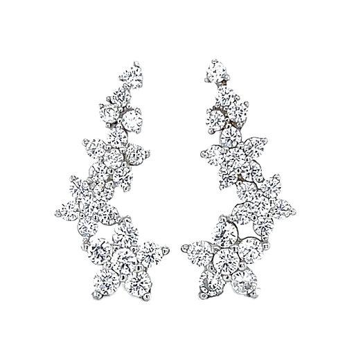 Sterling Silver Cubic Zirconia Flower Crawler Earrings 133042