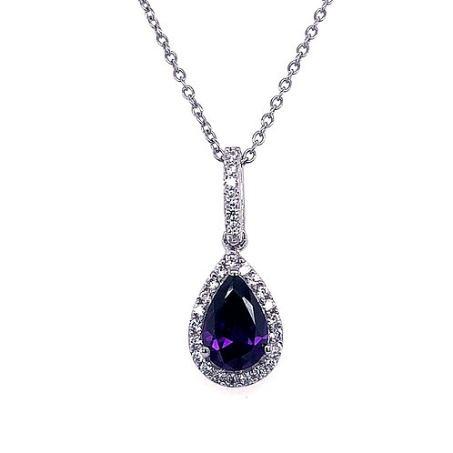 Sterling Silver Cubic Zirconia Purple Tear Necklace