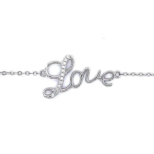 Sterling Silver Cubic Zirconia Love Bracelet 132383