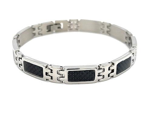 Men's Silver Stainless Steel Black Carbon Fiber Bracelet 117591