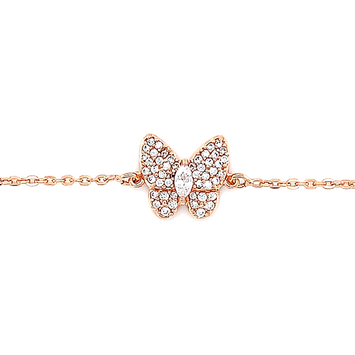 Rose Gold Plated Sterling Silver Cubic Zirconia Butterfly Bracelet 141842