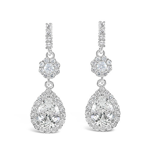 Silver Cubic Zirconia Tear Drop Earrings 131643-10124416