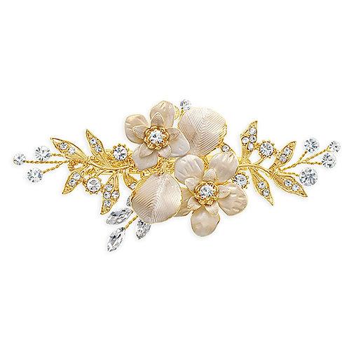Bridal Gold Flower Hair Clip 137624