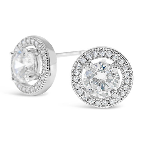 Bitter Sweet Sterling Silver Micro Pave Cubic Zirconia Earrings 117584