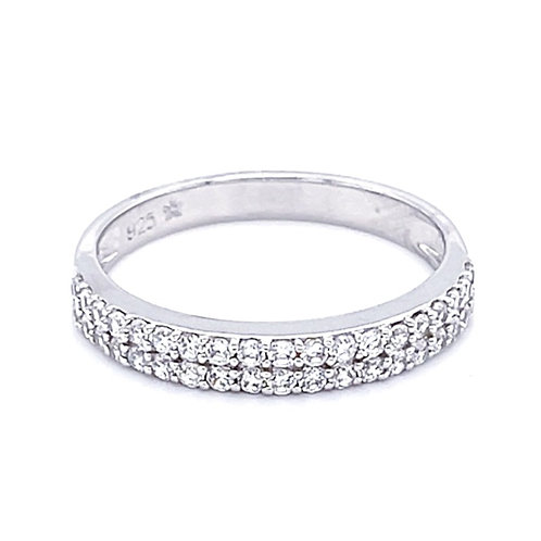 Sterling Silver Cubic Zirconia 2 Rows  Ring 131193