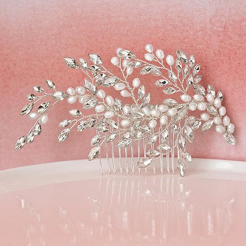 Bridal Silver Pearl Hair Comb 129575