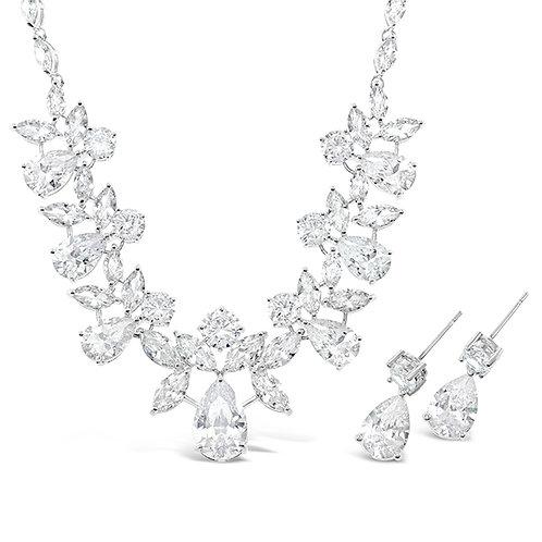 Bitter Sweet Jewellery Bridal Sivler Cubic Zirconia Necklace