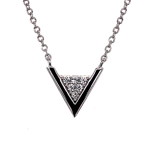 Sterling Silver Cubic Zirconia Pave Triangle Outline Necklace 133002