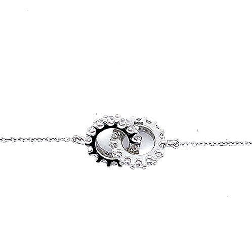 Sterling Silver Cubic Zirconia Double Loop Bracelet 132884