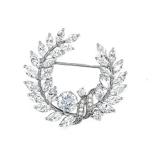Fashion Silver Cubic Zirconia Leaf Brooch 141627