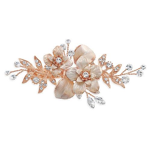 Bridal Rose Gold Flower Hair Clip 137625