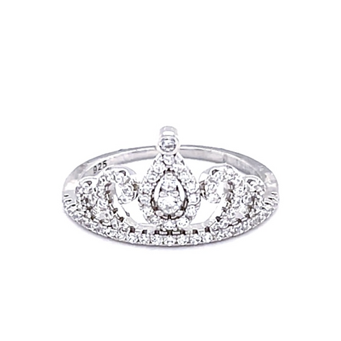 Sterling Silver Cubic Crown Zirconia Ring 133277