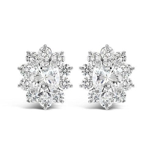 Bridal Cubic Zirconia Oval Clip On Earrings 129634