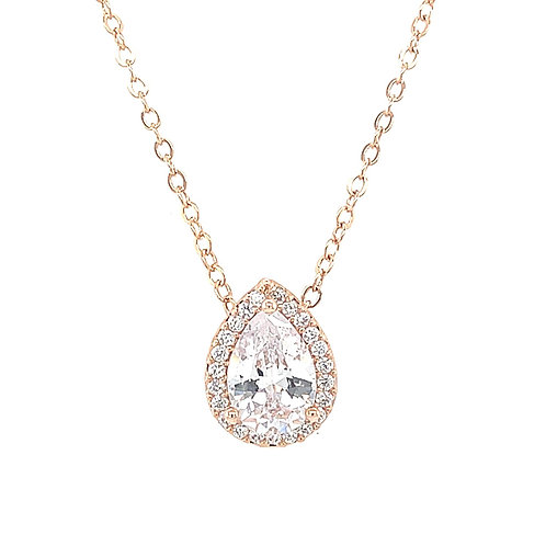 Fashion Rose Gold Cubic Zirconia Necklace 129624