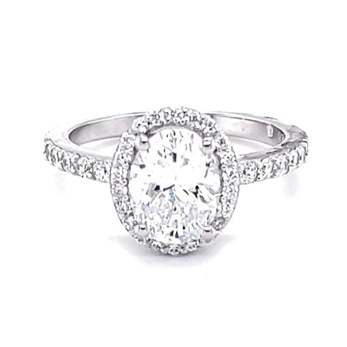 Sterling Silver Cubic Zirconia Oval Ring 132225