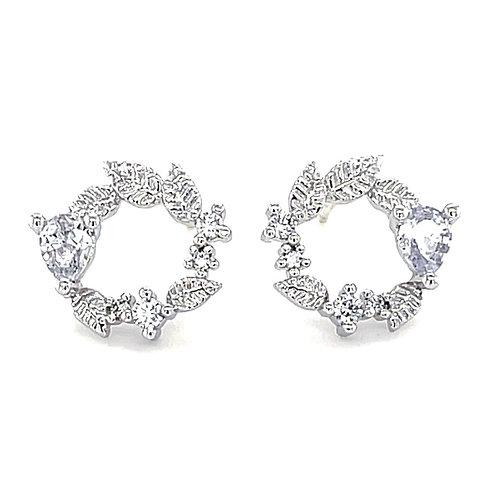 Sterling Silver Cubic Zirconia Leaf Stud Earrings 141289