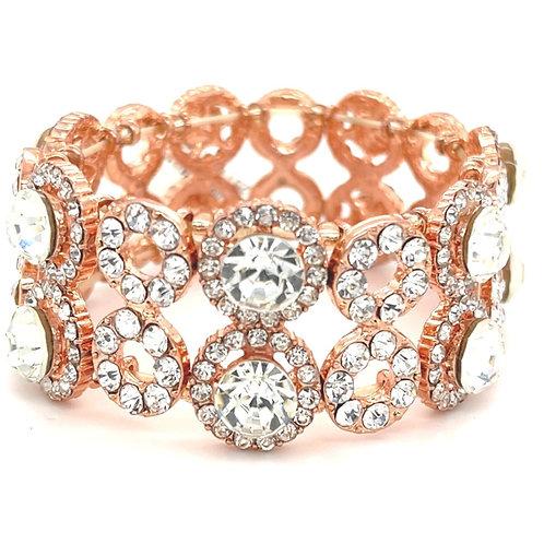 Fashion Rose Gold Crystal Elastic Round Bracelet 125115