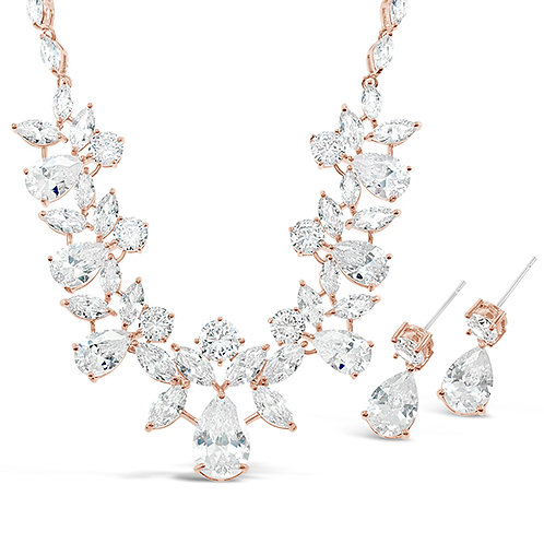 Bridal Rose Gold Cubic Zirconia Necklace & Earrings Set 131635-10124394