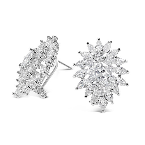 Bridal Sivler Cubic Zirconia Stud Earrings 131622