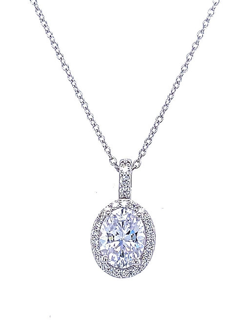 Sterling Silver Cubic Zirconia Oval Necklace 136025