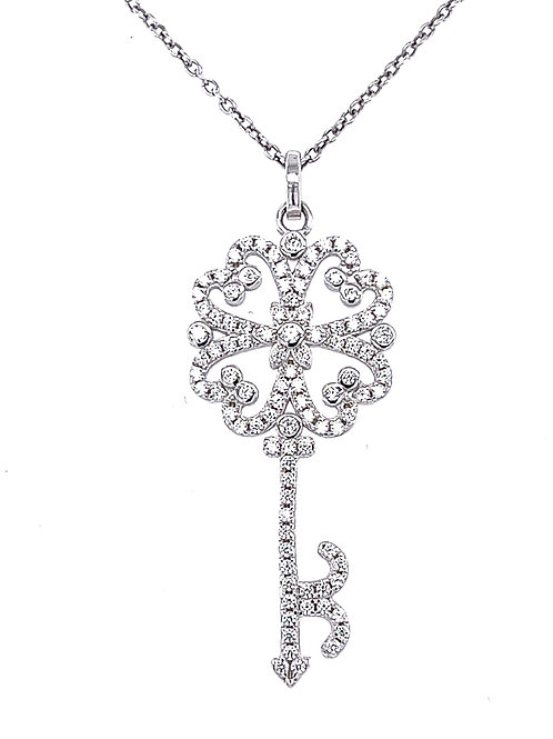 Sterling Silver Cubic Zirconia Key Necklace 131458