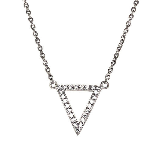 Sterling Silver Cubic Zirconia Outline Triangle Necklace 125492