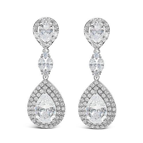 Bridal Silver Cubic Zirconia Tear Drop Earrings 126694