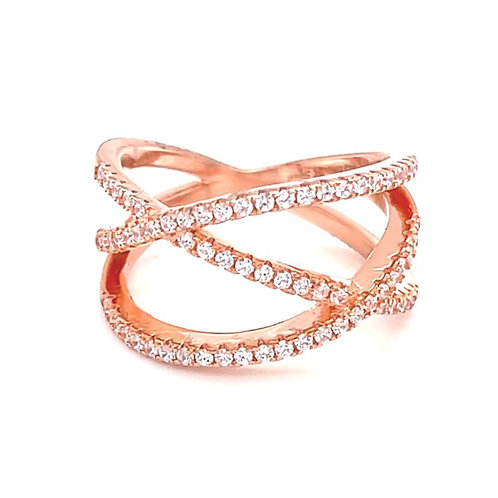 Rose Gold Plated Sterling Silver Cubic Zirconia Ring 132708