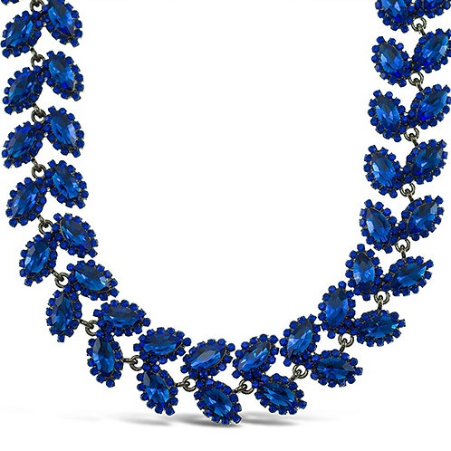 Costume Royal Blue Crystal Leaf Necklace 140994