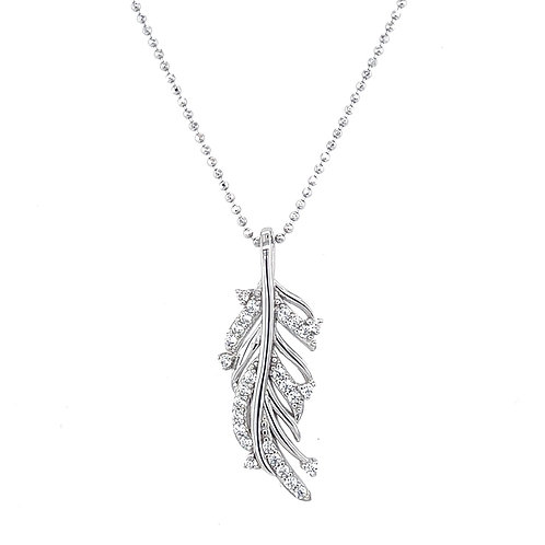 Sterling Silver Cubic Zirconia Leaf Necklace 129491