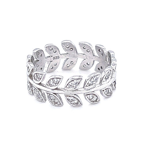 Sterling Silver Cubic Zirconia Leaf Ring 126481