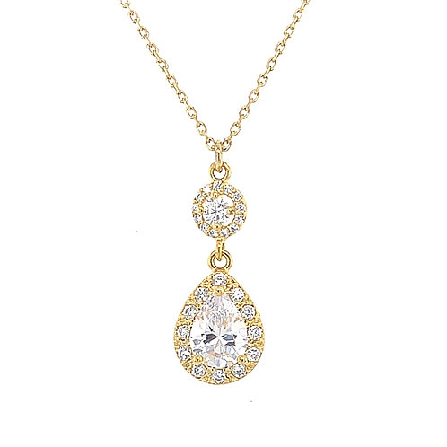 Fashion Gold Cubic Zirconia Necklace 127901