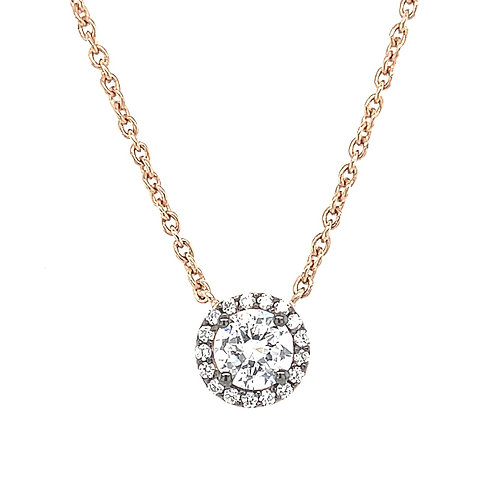 Rose Gold Plated Sterling Silver Cubic Zirconia Necklace 120550