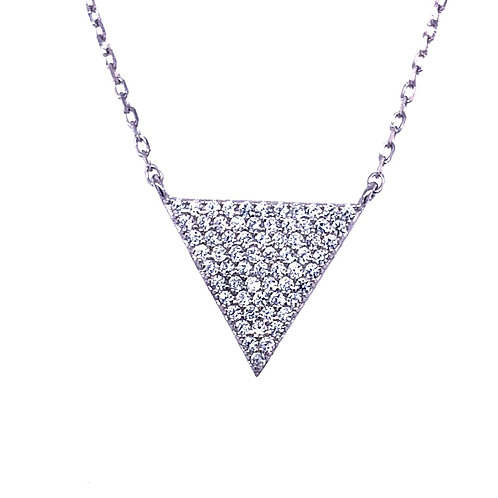 Sterling Silver Cubic Zirconia Pave Triangle Necklace 132526