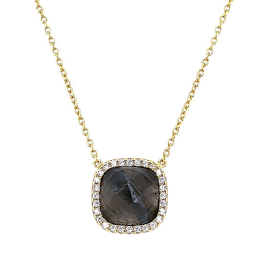 Gold Plated Sterling Silver Cubic Zirconia Labradorite Square  Necklace 10121402