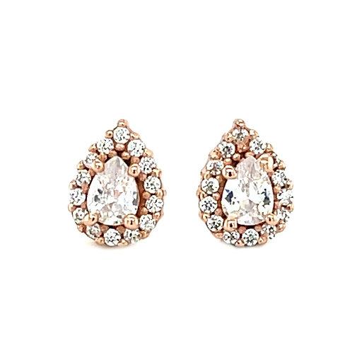 Rose Gold Plate Sterling Silver Cubic Zirconia Tear Drop Earrings 141771